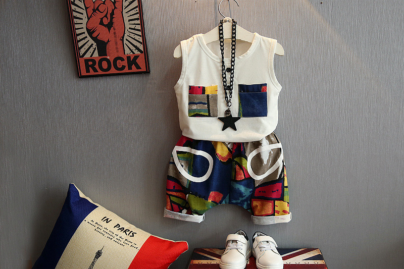 Children's suit new cotton baby Sleeveless clothing set summer baby boys and girls body suit cartoon kids clothing set 2-6years 2
