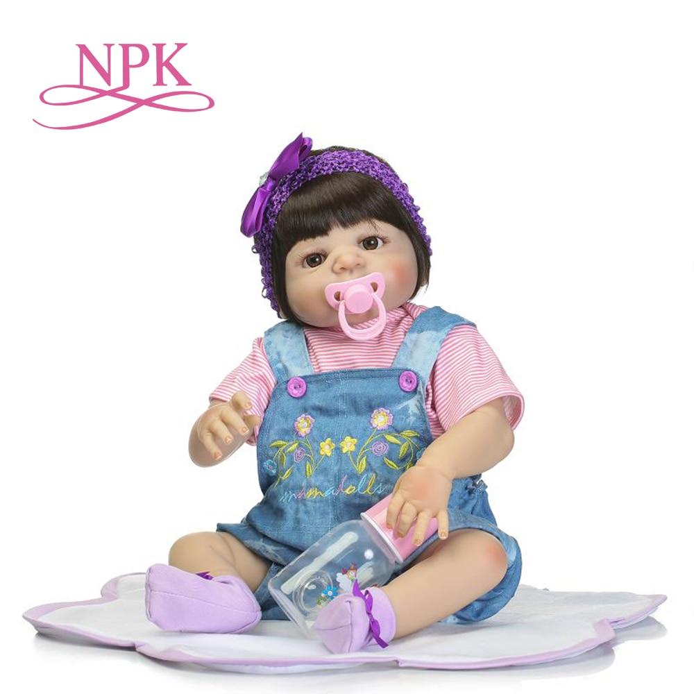 NPK 57cm full silicone lifelike newborn baby girl best Children s Day gift Christmas gift silicone
