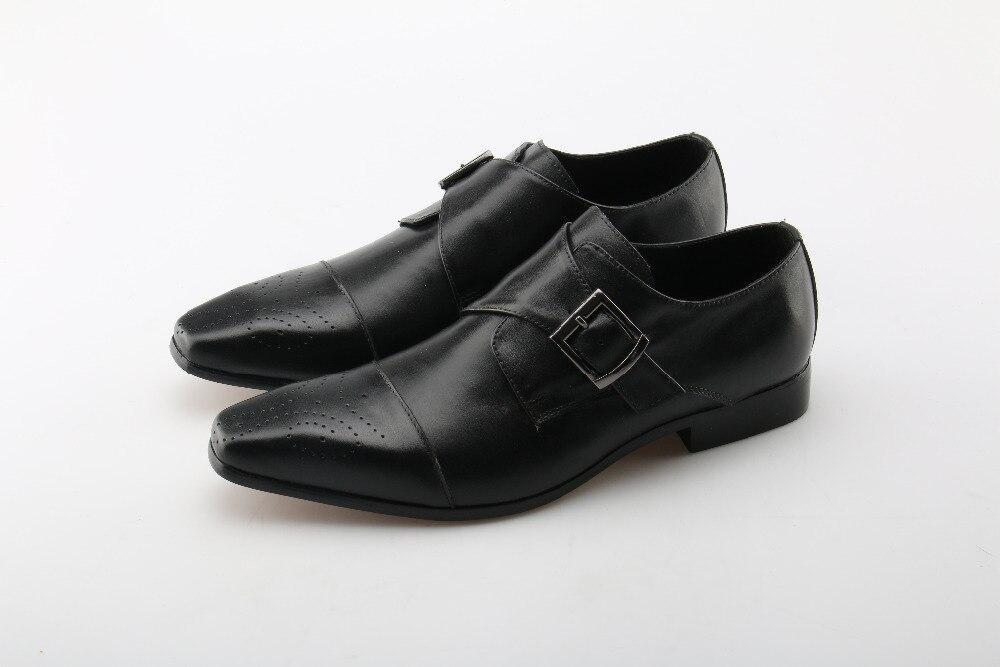 цена на Genuine Leather Formal Business Monk Strap Men Shoes Buckle Belt Men Brogue Shoes Black Brown Brush Color Square Toe Dress Shoes