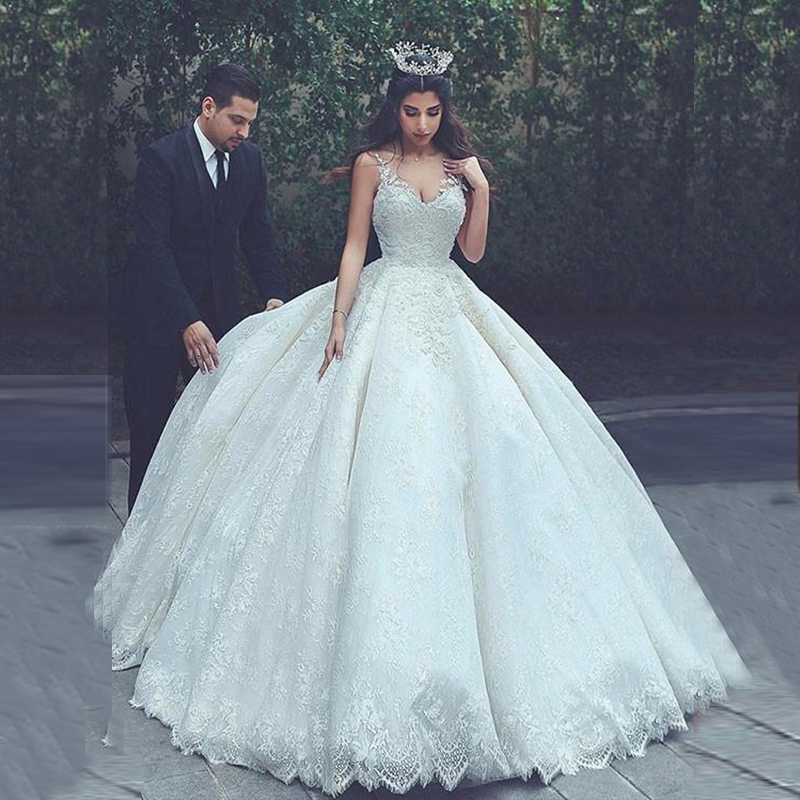 Wedding Ball Gowns With Straps: 2019 Lace Ball Gown Wedding Gowns V Neck Sheer Straps