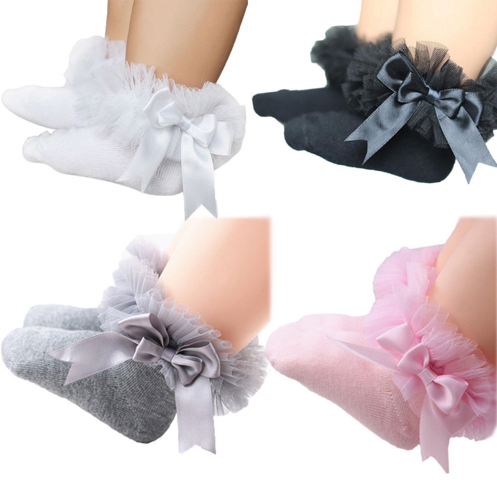 2018 Infant Newborn Toddler Baby Girls Kids Princess Bowknot Lace Floral Short Socks Cotton Ruffle Frilly Trim Ankle Socks 2-6Y ruffle trim solid tee