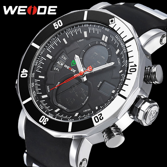 цена 2017 New Luxury WEIDE Brand Men Army Military Sports Watches Men's Quartz LED Clock Male Wrist Watch Relogio Masculino онлайн в 2017 году