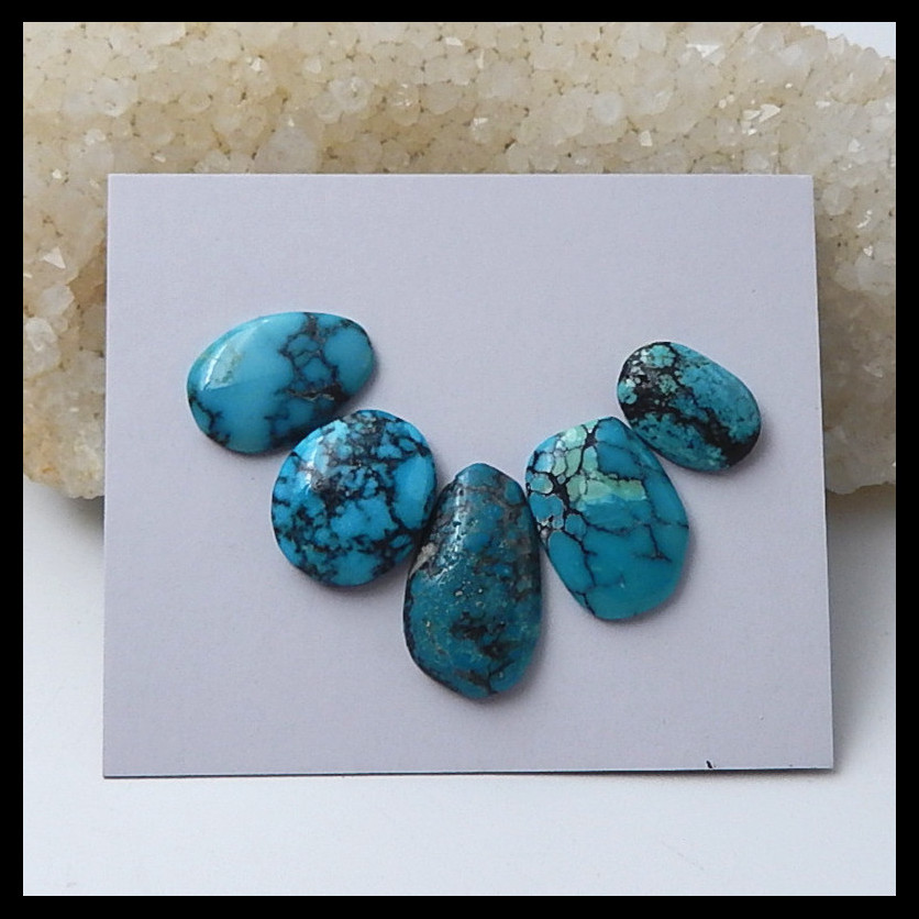 Wholesale 5 PCS Of Natural Gemstone Turquoise Cabochons,necklace pendant cabochons,21x12x4mm,14x9x4mm,5.7g