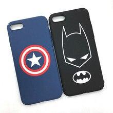 Fashion Batman Iron Man Captain America Superman Matte Plastic Back Cover for IPhone 7 plus Phone Cases Ultra Thin Shell Coque