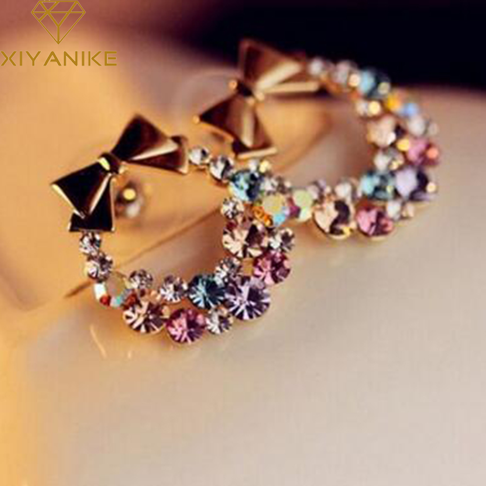 New Fashion Designer Jewelry Colorful Rhinestone Imitation Pearl Butterfly Bow Stud Earrings