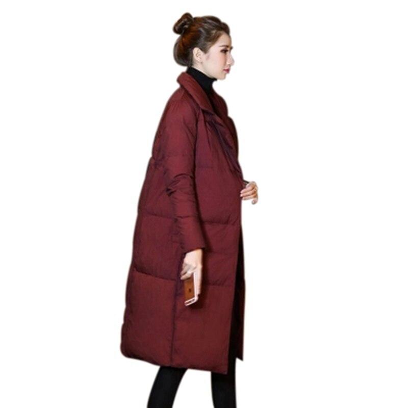 orange 2018 Noir Costume Chaud Veste bourgogne Blanc Solide Manteau Mode Bas Épais Col Long Canard Couleur Vers Femme Femmes F791 Hiver Lady Le Moyen rouge Dowm De qpqSr