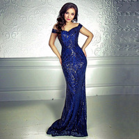 Elegant Blue Gold Sequined Retro Evening Gown Dress Hollow Out Off Shoulder Strapless Back Zipper Maxi Party Dress Floor Length