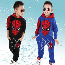 Childrens suit 2017 spring and autumn season Boys Dress cartoon printing spider web red blue sports for 2-7 year old