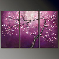 Handmade Large Oil Paintings Purple Flower Canvas Modern Pictures On The Wall 3 Panel Art Living