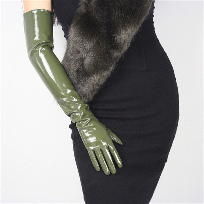 60cm Patent Leather Long Gloves Extra Long Over Elbow PU Emulation Leather Bright Leather Mirror Dark Green Army Green WPU49-60