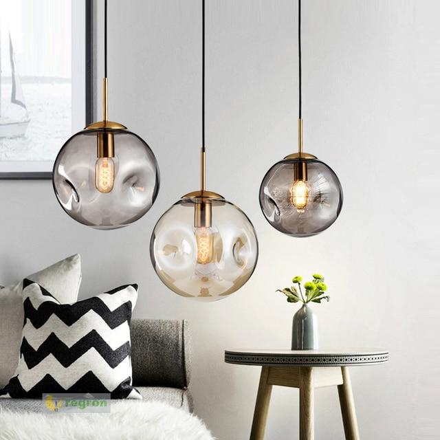 Art Salon black glass ball Hanging Lights glass Pendant Light home lighting E27 Living Room North European Restaurant Led Lampe