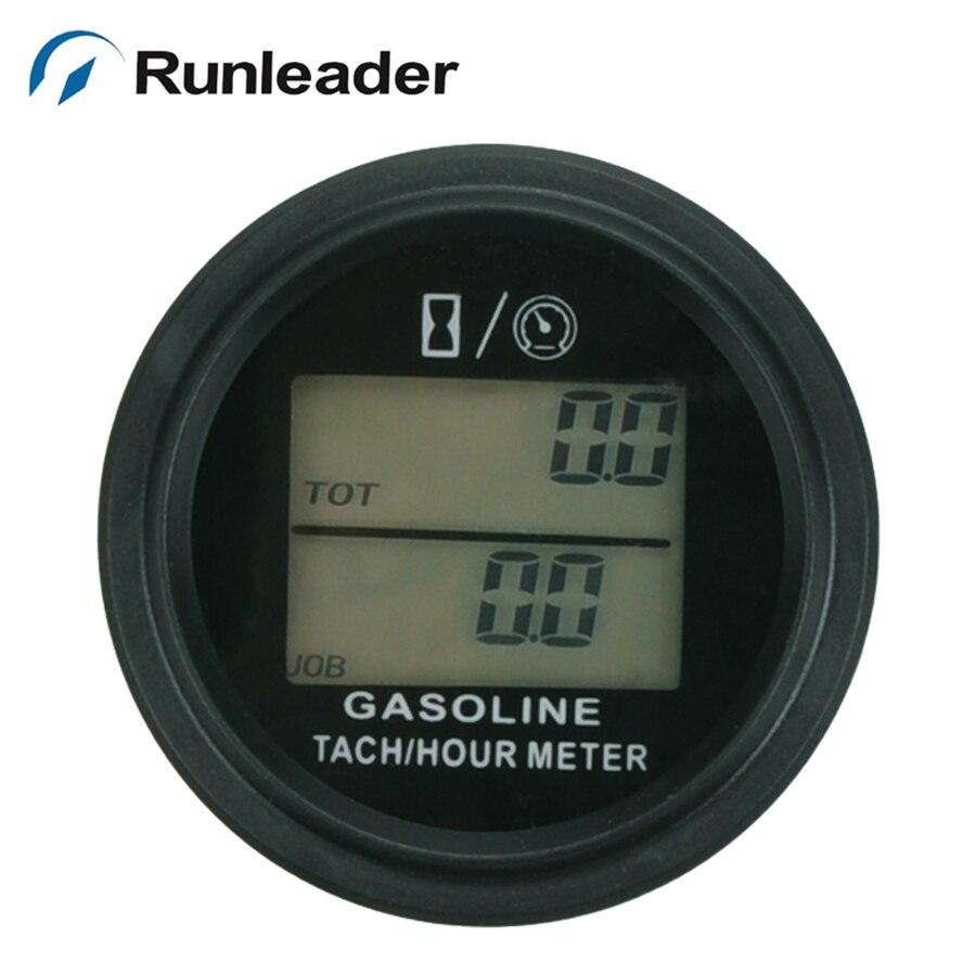 Runleader HM005L LCD Backlight Hour Meter Tachometer For Gas Engine 2/4 Stroke Engine Digital Spark Plugs Motorcycle