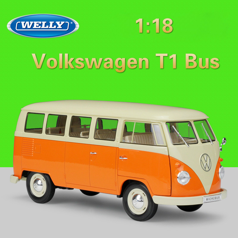 WELLY 1:18 Metal Model Car Volkswagen Van Retro Print T1 Bus Diecast Toy Car Alloy Bus Cars Toys For Children Gifts Collection