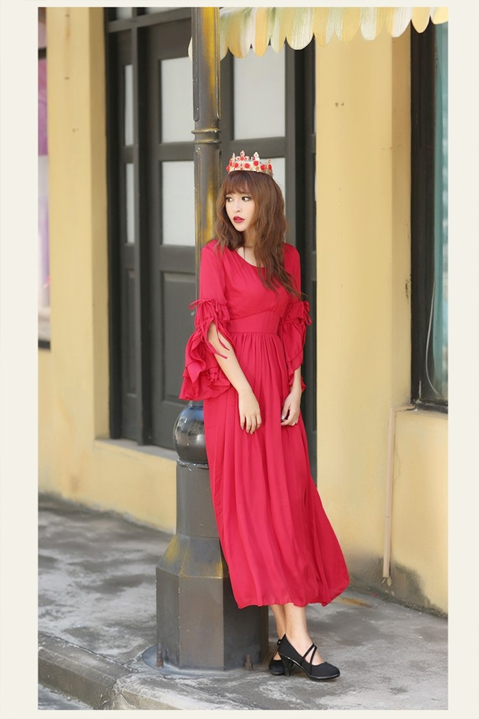 red/white long flare medieval sleeve long medieval dress Renaissance Gown princess Victorian dress/Marie Antoinette