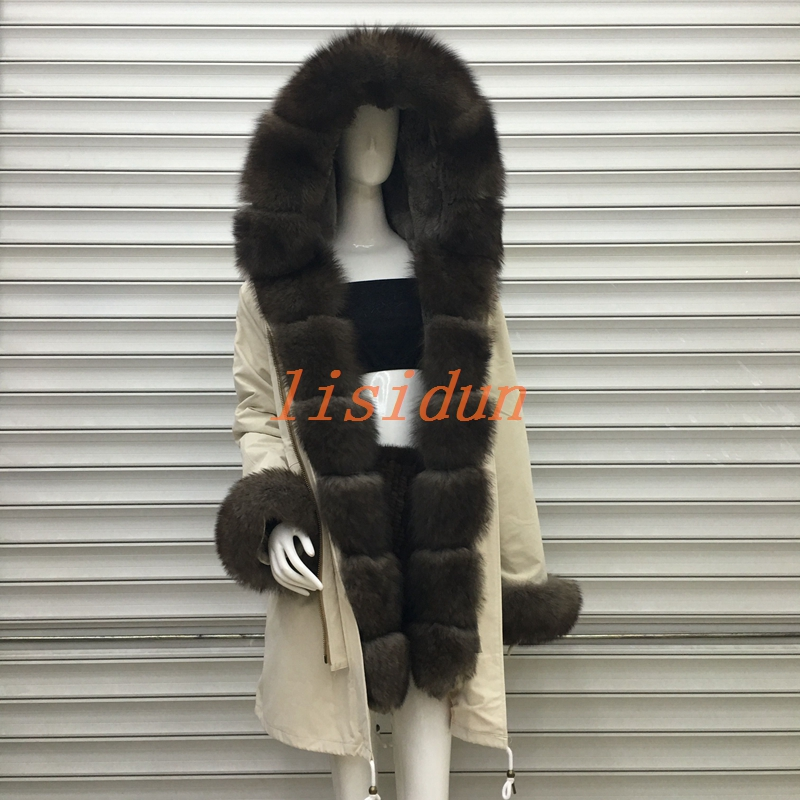 2018 Reale cappotto di pelliccia di volpe parka di inverno del cappotto del rivestimento delle donne parka grande reale collo di pelliccia di procione naturale pelliccia di volpe fodera lungo della tuta sportiva
