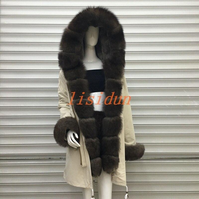 2018 manteau de fourrure Véritable renard parkas veste d'hiver manteau femmes parka grand réel fourrure de raton laveur collier naturel doublure en fourrure de renard long survêtement
