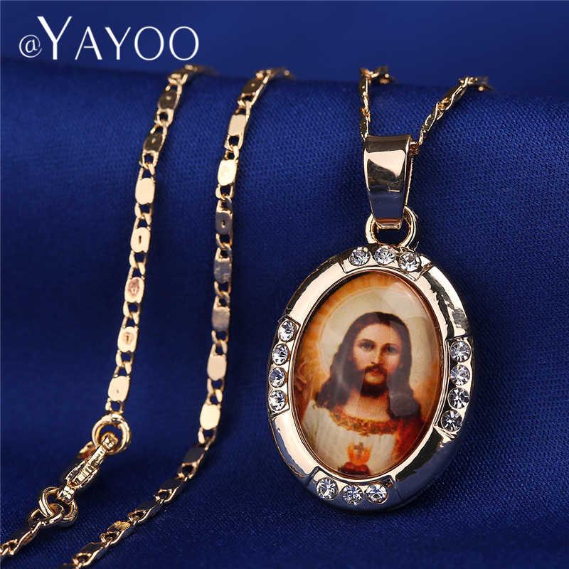 AYAYOO สร้อยคอและจี้ทองสีพระเยซู Virgin Mary สร้อยคอผู้หญิงแฟชั่นสร้อยคอยาวงานแต่งงาน Vintage สร้อยคอ