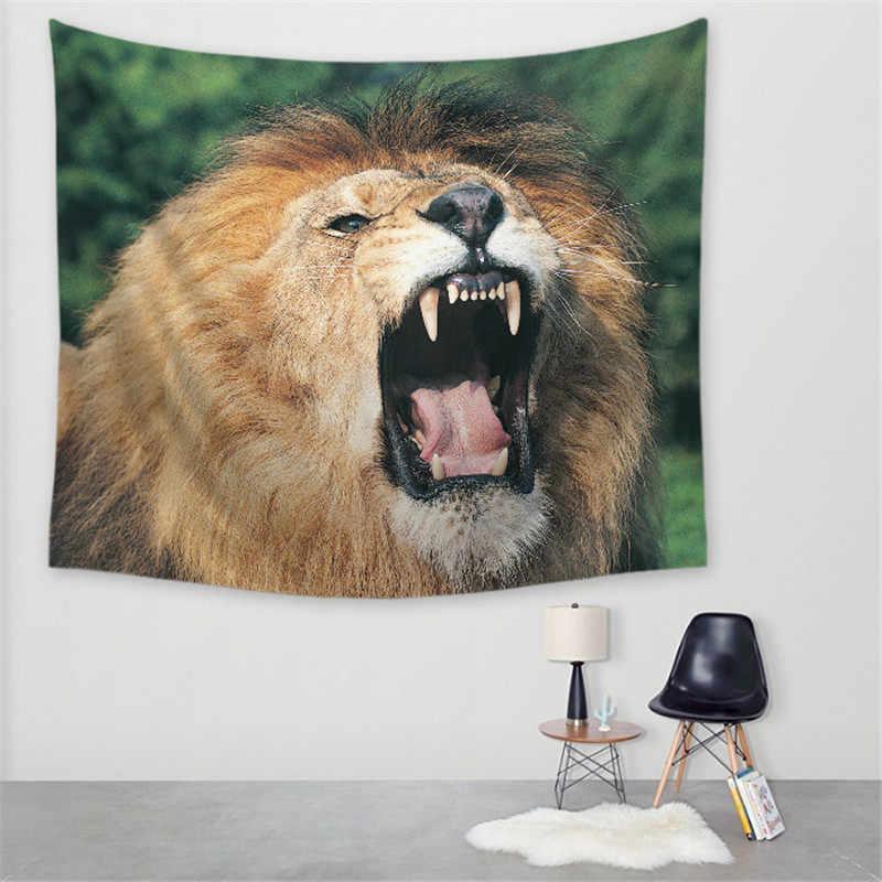 Nowe dzikie życie lew ręcznik plażowy z nadrukiem mata do jogi ściany wiszące artystyczne dekoracje gobelin do dekoracji wnętrz