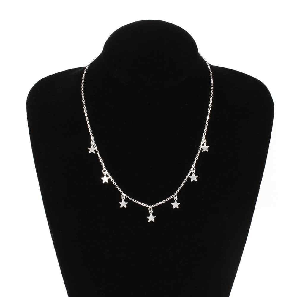 Star Collier femmes Choker Kolye or argent lune colliers Boho pendentifs Collier Femme chaîne Collier collares de moda 2019 nouveau