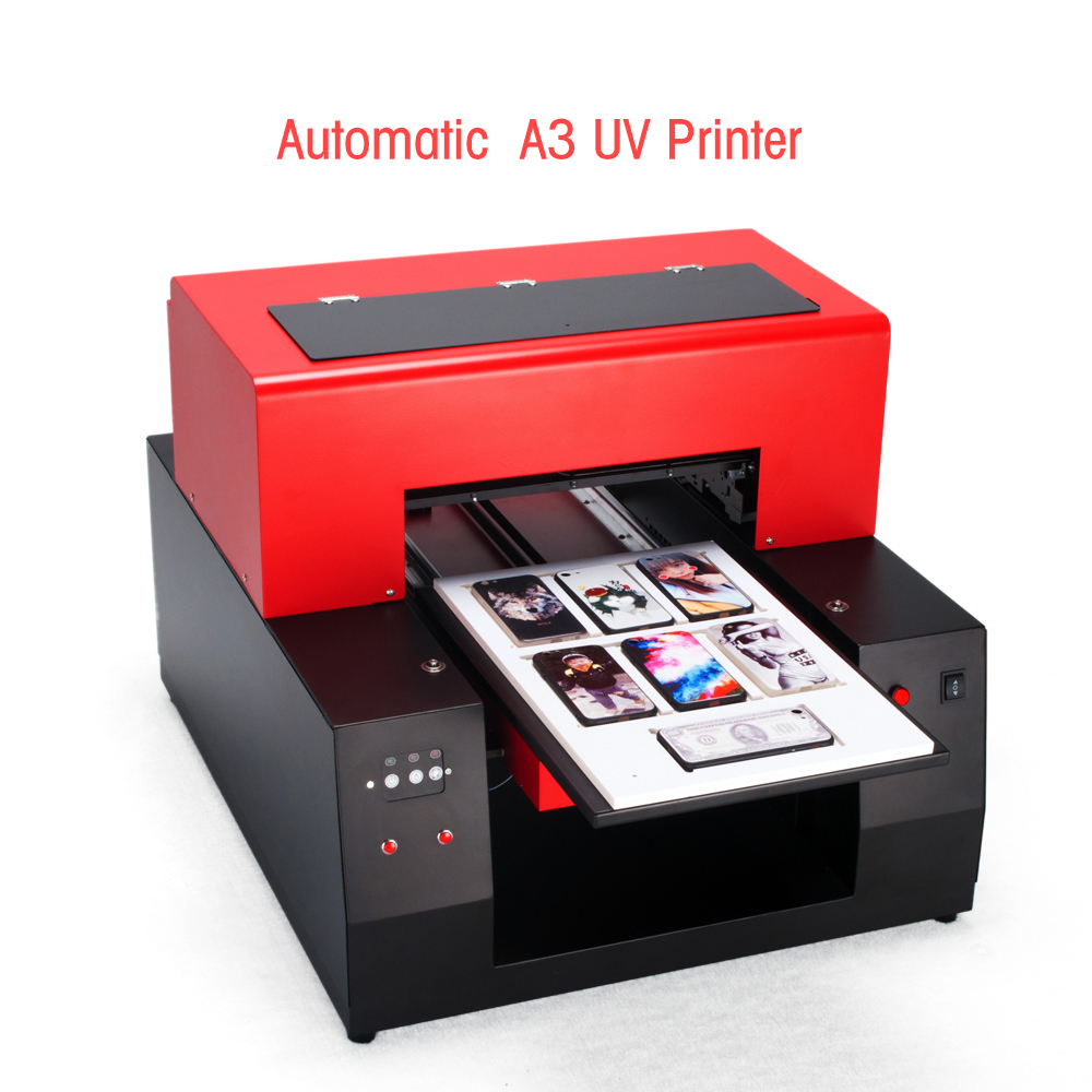 New Automatic A3 size UV Printer Printing machine A3 UV flatbed printer for Phone case/ leather/Glass Metal/ PVC uv printer embossed effect a3 led uv printer uv flatbed printing machine for candle printing