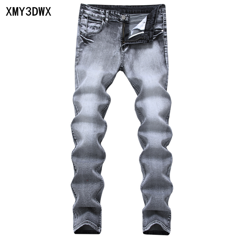 Spring and summer mens hole hole nostalgic stretch jeans Korean Slim pants pants youth casual large size mens trousers tide