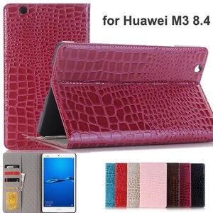For Huawei Mediapad M3 8.4 Luxury Crocodile leather anti-break case,wallet flip cover funda for Huawei M3 8.4inch BTV-DL09 W09