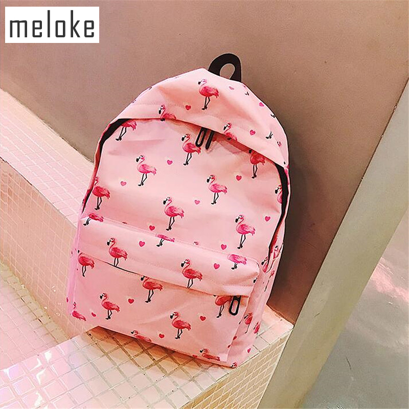 Meloke 2018 printed Flamingo and fruit canvas backpacks casual large size school bags for girls travel bags drop shipping MN933 flamingo printing canvas school bags flamingo travel portable backpacks drawstring bag for women and students