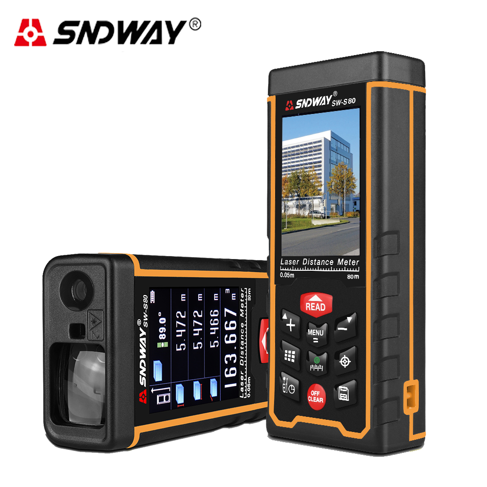 SNDWAY Rechargeable 80m Color LCD Laser distance meter high-precision rangefinder W-camera laser tape measure Area/volume/angle rechargeable color display high precision laser rangefinder distance meter tape measure with bubble level measure area volumes70