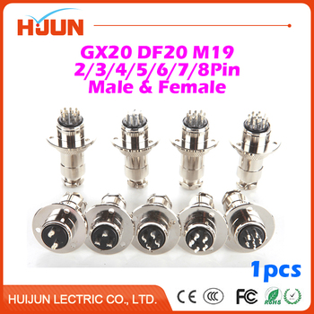 1pcs GX20 DF20 2/3/4/5/6/7/8 Pin M1919mm Male & Female Wire Cable Panel Connector Aviation Plug Circular Disk Socket Plug image