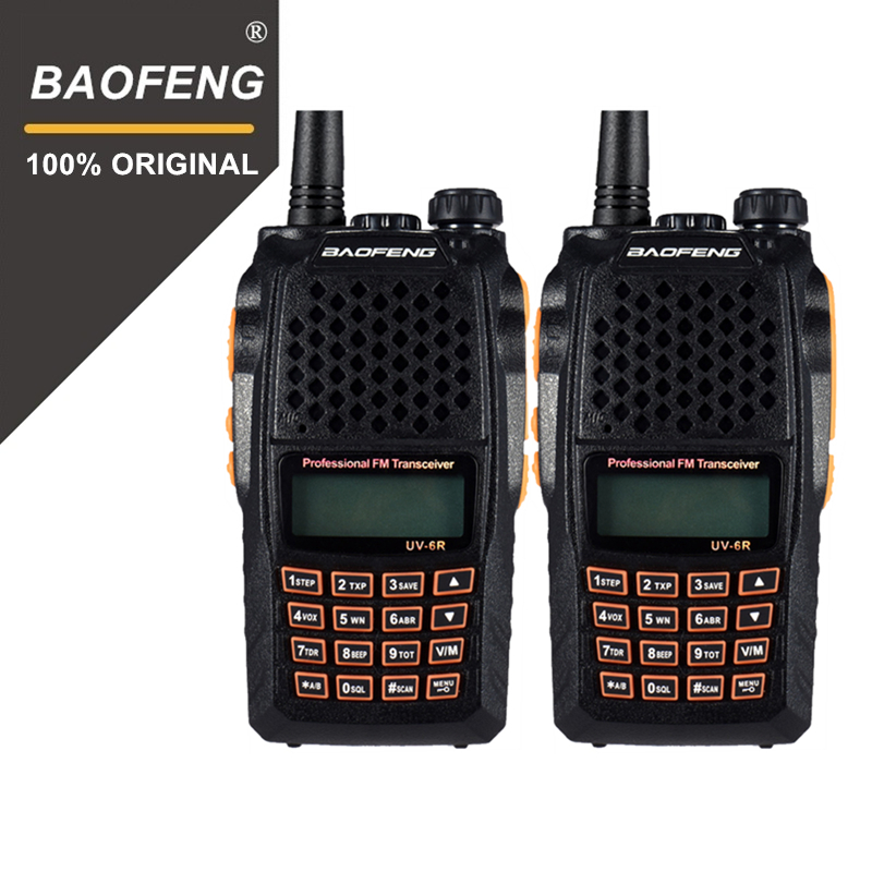 2 шт. Baofeng UV-6R 2Way радио Профессиональный CB радио Dual Band 128CH ЖК-дисплей Дисплей Беспроводной Pofung UV6R портативные рации