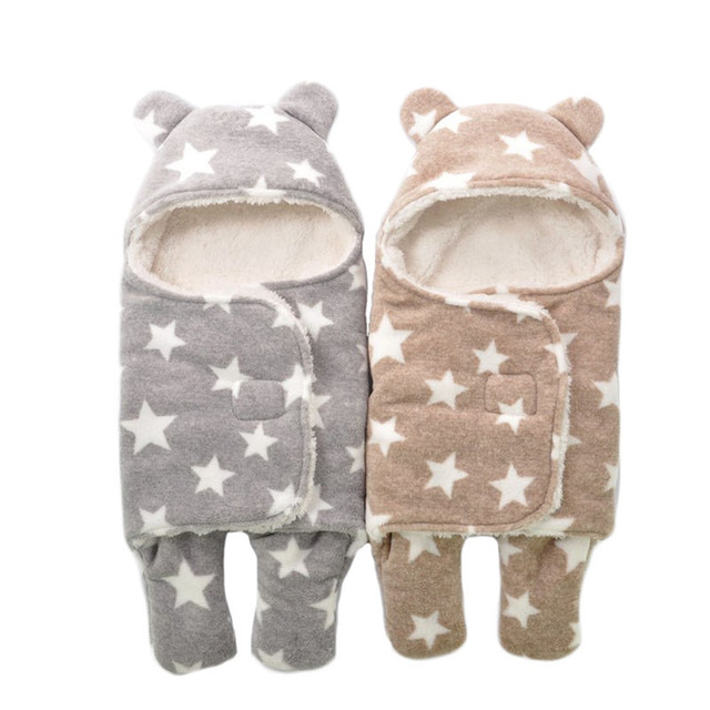 2017 New Baby Infant Winter Sleeping Bags Cotton Envelope for Newborn Cocoon Wrap Sleepsack Blanket Swaddling 0-6M