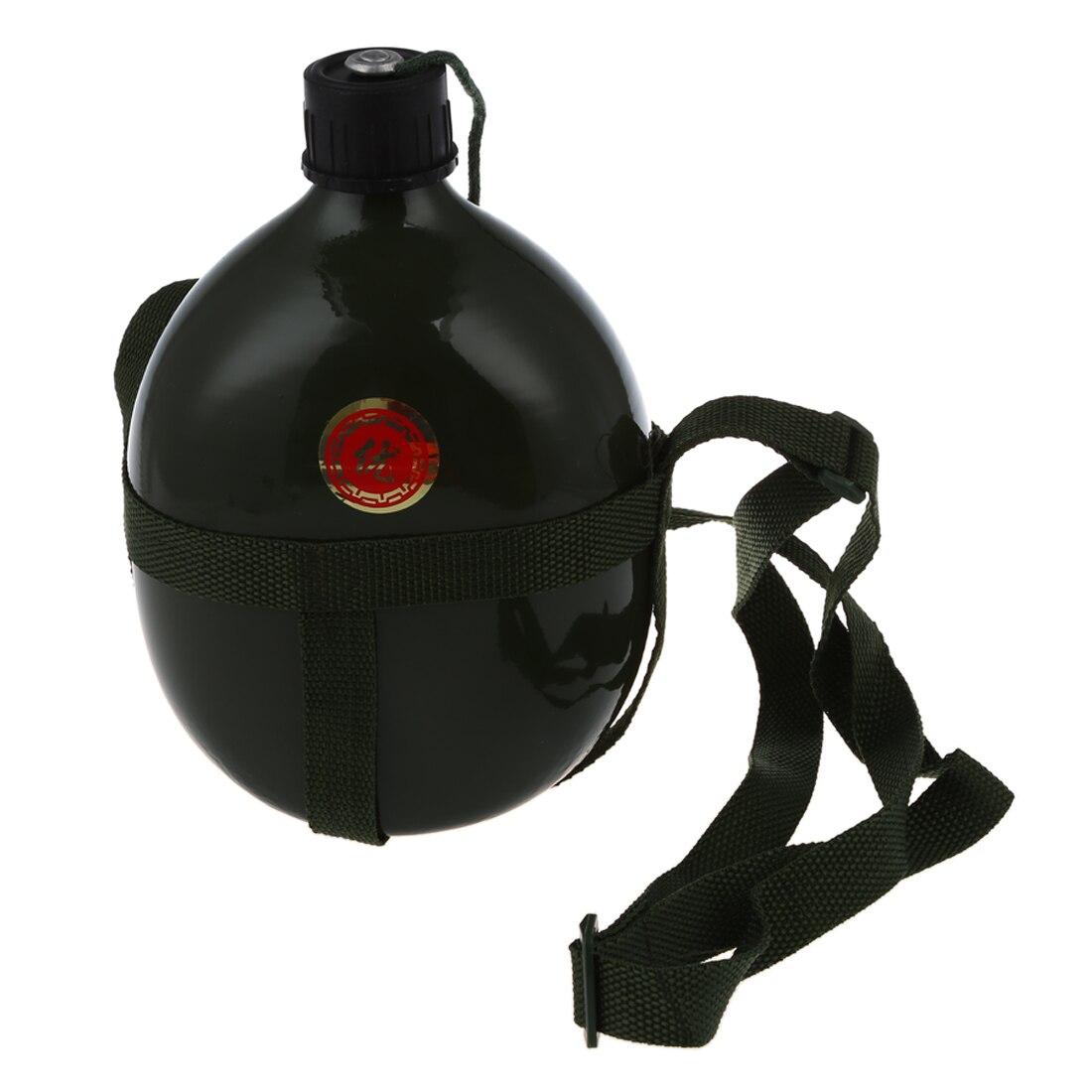 Prático 1.5l alumínio militar garrafa de água com alça de ombro militar do exército cantina