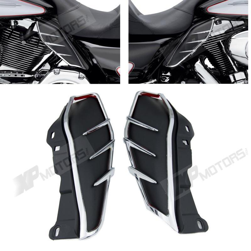 New A Pair ABS Plastic Mid-Frame Air Deflectors Trims For Harley Touring FLHRC FLHTCUTG FLHTCU 2009 2010 2011 2012 2013 brand new silver color motortcycle accessories abs plastic led tail light fit for harley harley iron 883 xl883n xl1200n chopped