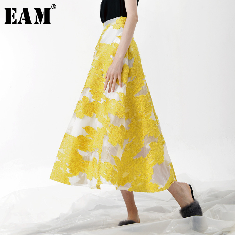 [EAM] 2018 New Summer Fashion Tide Yellow Patchwork Flower Embroidery Zippers Simple All-match Thin Woman Skirt S618