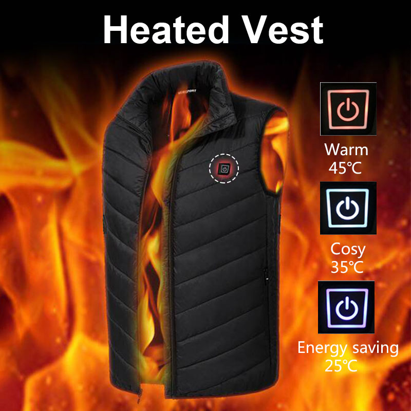 Electric Heated Vest Black Down Cotton USB Physiotherapy Clothing Body Warmer Heating Coat 5-12v Hot Compress Thermal Warm Coat