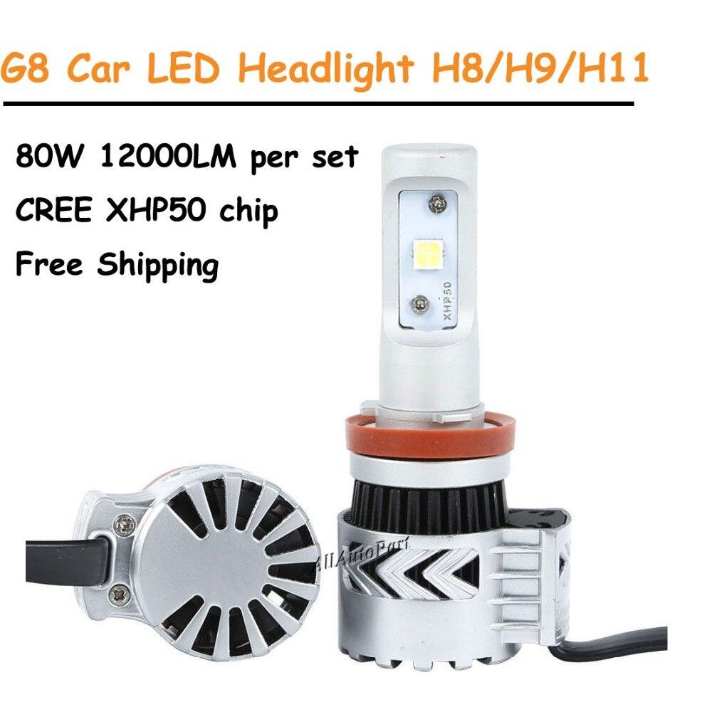 Super Bright Car Headlights H7 LED H8/H11 HB3/9005 HB4/9006 80W 12000lm Auto Front Bulb Automobiles Headlamp 6000K Car Lighting
