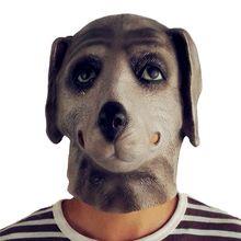 GNHYLL Pug Κεφάλι σκύλου κεφαλής λατέξ Πλήρης μάσκα προσώπου ενηλίκων αναπνεύσιμο αποκριές μαντήλι Fancy φόρεμα κόμμα Cosplay κοστούμι αστεία μάσκα
