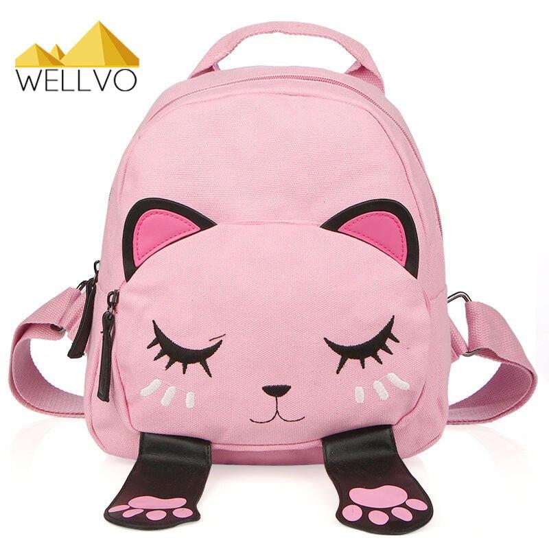 Cat Canvas Backpack School Bag for Teenagers Girls Students Back Pack Funny Preppy Backpacks Shoulder Bag Children Bags XA2026C