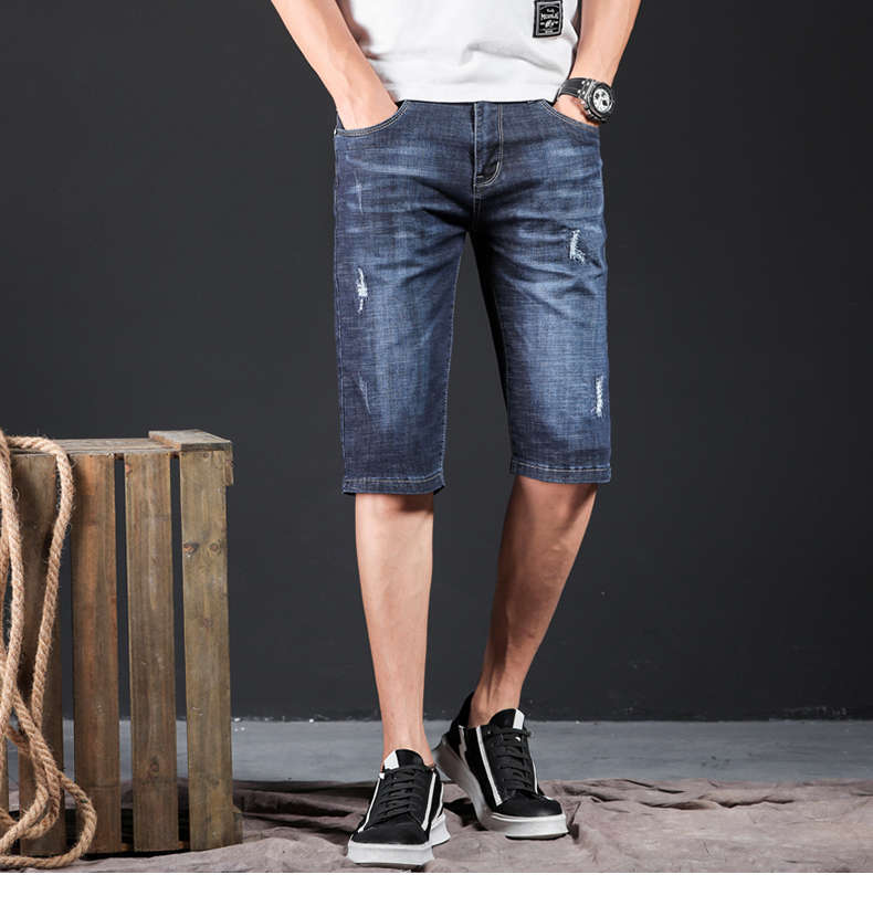 KSTUN Mens Jeans Brand Ripped Biker Jeans Men Shorts Denim Pants Elastic Dark Blue Streewear Frayed Slim Fit Pantalon Homme Jean 11