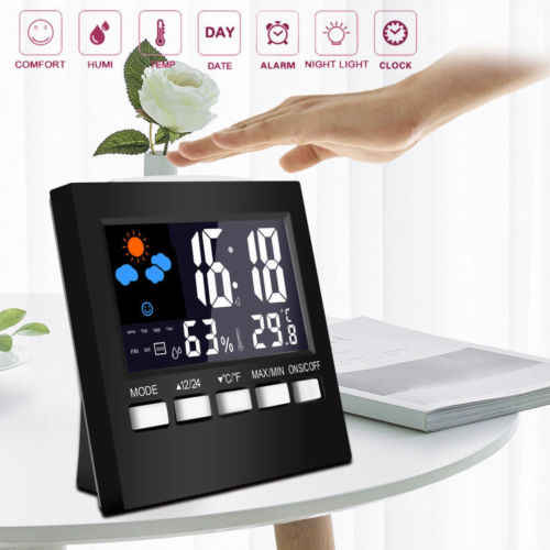 Intelligent Digital Display Thermometer humidity clock LCD Alarm Calendar Weather Simple Desk Table Clocks Black