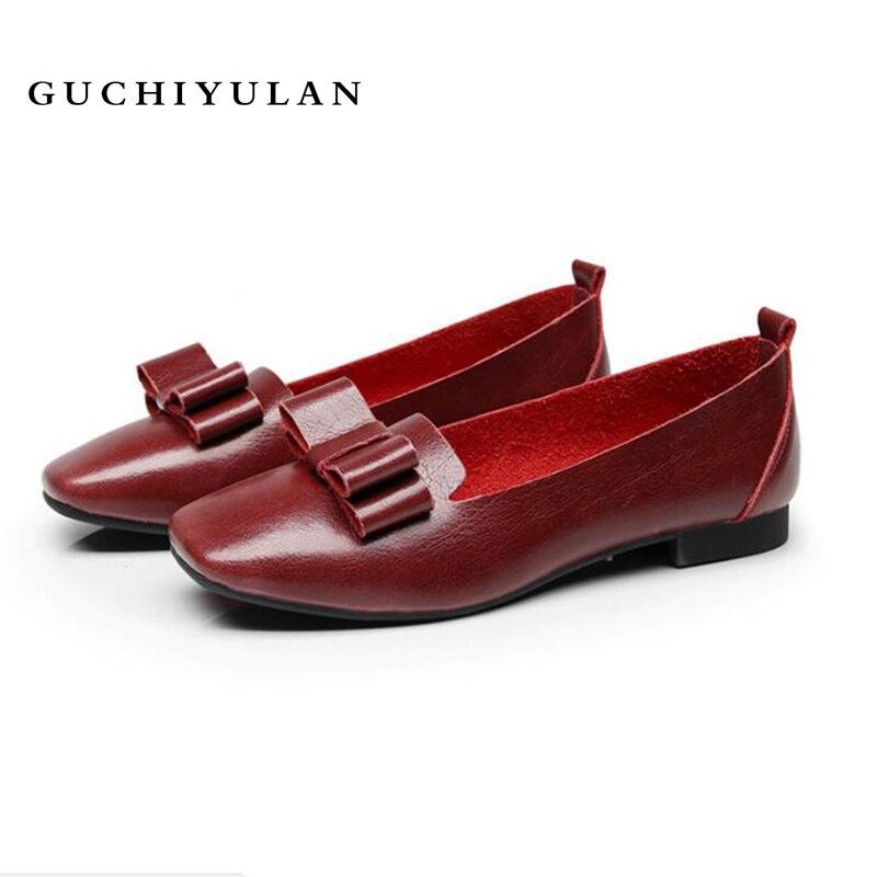 GUCHIYULAN Primavera donna sneakers appartamenti oxford scarpe di cuoio delle donne ballerine mocassini da donna scarpe da barca nero Arco mocassini