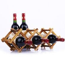 2019 Wooden Red Wine Rack 3/6/10 Bottle Folding Display Stand Solid Shelf Exhibition Organizer Hot Sale