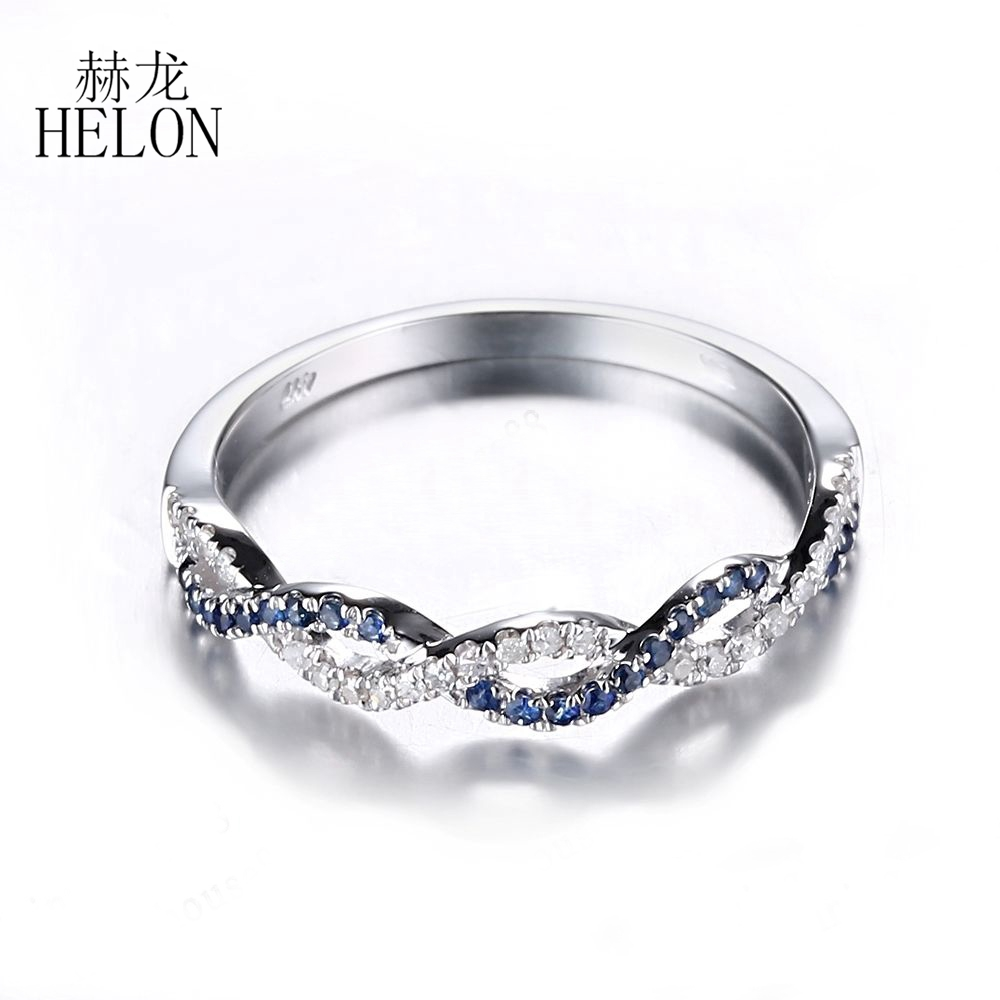 HELON Sterling Silver 925 Pave 0.25ct Diamonds & Sapphires Twisted Engagement Wedding Band Gemstone Women Jewelry Ring Wholesale