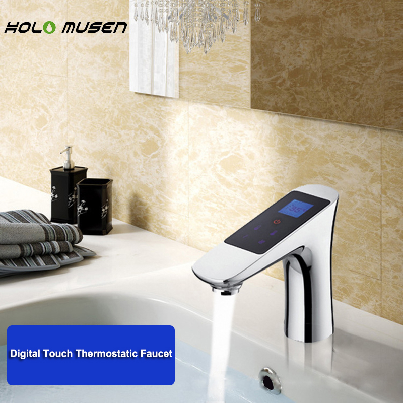 Thermostat chromé 220 V robinet numérique Thermostat contrôle de débit de température LCD écran tactile intelligent Thermostat numérique robinet