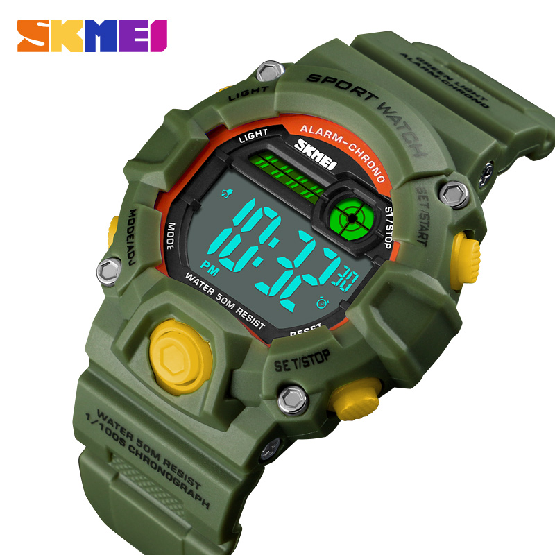 Fashion Kids Watches 50 Meters Waterproof  Plastic Shell Led Digital Girls And Boys Watch For Children Student Clock SKMEI 2018