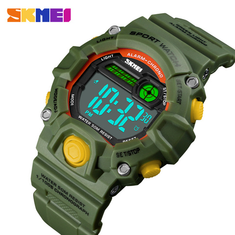 Fashion Kids Watches 50 Meters Waterproof  Plastic Shell Led Digital Girls And Boys Watch For Children Student Clock SKMEI 2018 Pakistan