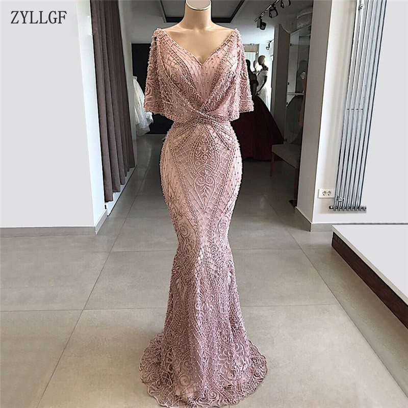 ZYLLGF African Dubai Beaded   Evening     Dresses   With Sleeves Robe De Soiree Aibye Muslim Turkish Elegant Prom Gowns MC61