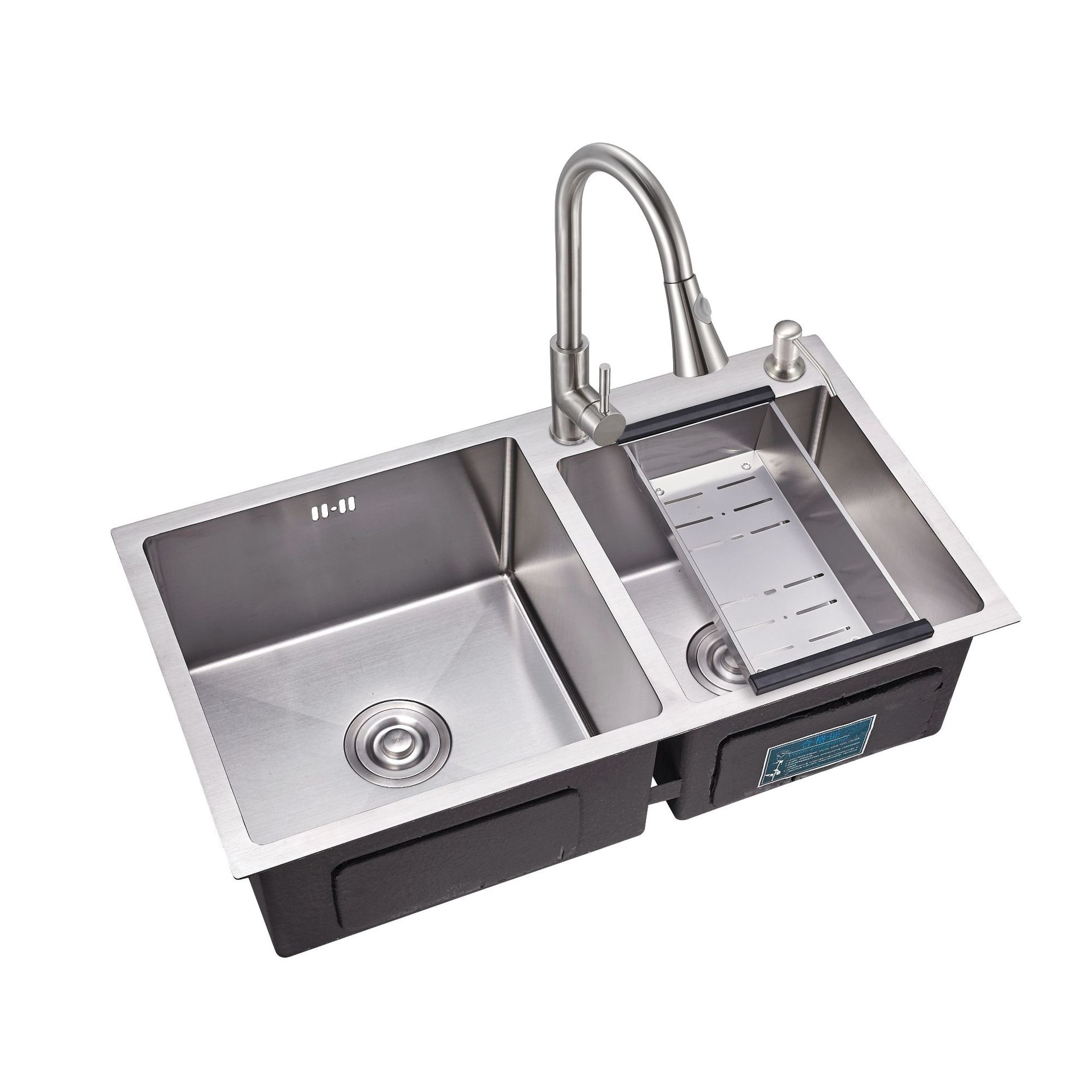 sink the slot thickening 3 mm manual package SUS304 stainless steel kitchen sink  basins bouble bowl  kitchen sink with faucet