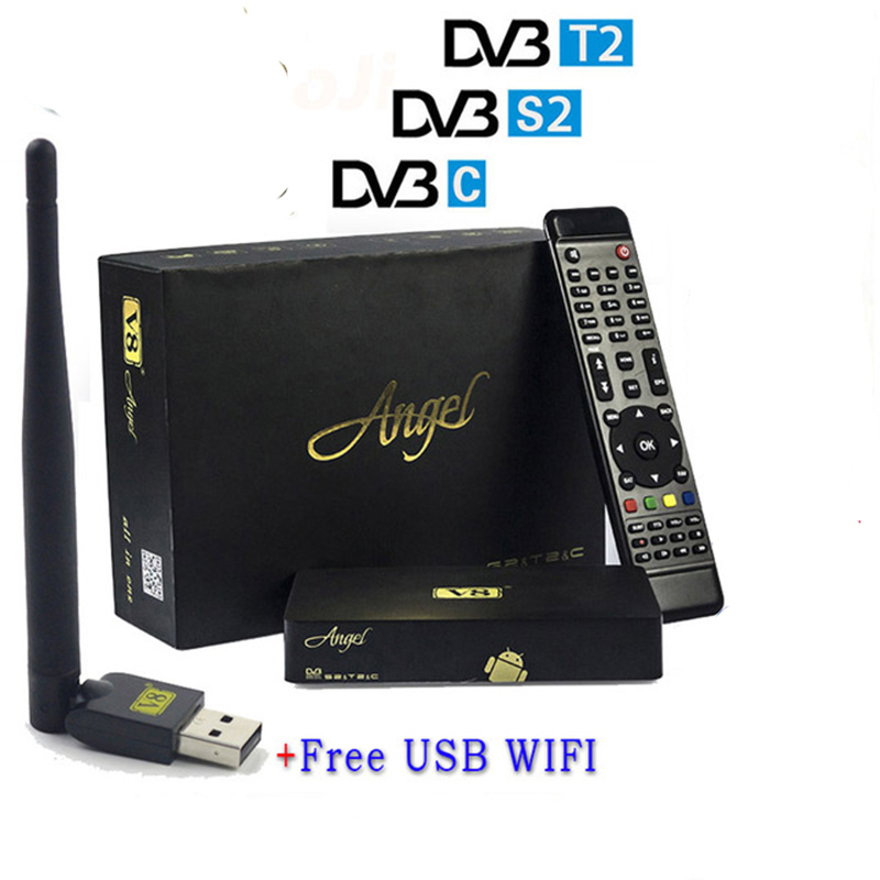 Satellite Receiver FreeSat V8 Angel IPTV DVB S/S2 DVB T/T2 DVB-C SAT To+v8 mini wifi Support AC3 CCCAM Power freesat v7 combo wifi support dvb t2 s2 brand new satellite receiver twin tuner dvb s2 dvb t2 support cccam newcam free shipping
