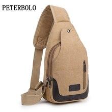 PETERBOLO Casual Handbags For Men Canvas Chest Bag High Quality Brand Single Zipper Crossbody Travel Bags